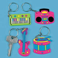 MUSIC GIFTS: MISC. - Music Instruments Party Keychains, Music Party Favors, Music Theme, Party Decor, Musical, Birthday, Occasion