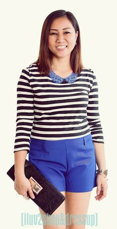 Stripes top and cobalt blue Cobalt Blue, Two By Two, Casual Shorts, Dress Up, Stripes, How To Wear, Color, Outfits, Black