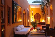 Love Morocco, but never been to Marrakesh. This is a Riad in the Palmerai part of Marrakesh. Outdoor Lounge, Outdoor Spaces, Outdoor Living, Marrakech Morocco, Marrakesh, Marrakech Hotels, Moroccan Design, Moroccan Style, Moroccan Garden