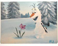 Acrylic Olaf Painting 9x12 Disney Frozen