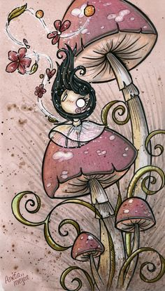 A sketch by Anita Mejia shows movement with pink mushrooms & a little girl with blowing hair. #Illustration