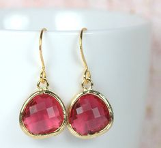 January Birthstone Quartz and Gold Framed Earrings by Theresa Rose Designs