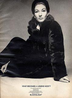 "Maria Callas - Blackglama Mink ""What Becomes A Legend Most?"" Ad Campaign (1970)."