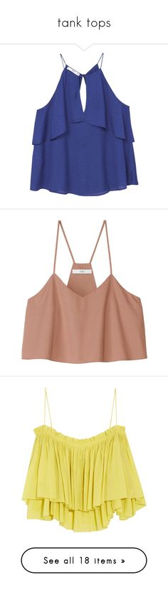 """""""tank tops"""" by selfaware ❤ liked on Polyvore featuring tops, shirts, tanks, ruffle shirt, ruffle top, layering shirts, off the shoulder tops, off-the-shoulder ruffle tops, crop top and blusas"""