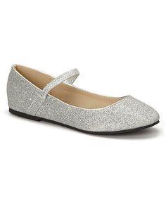 Silver Glitter Ridley Flat #zulily #zulilyfinds