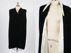 1930s  velvet cape with white fur by shopKLAD on Etsy