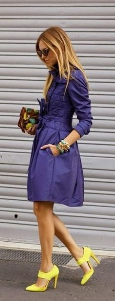 vibrant colors for street chic - SPRING / SUMMER STYLE - clothes - purple coat - yellow high heel shoes Passion For Fashion, Love Fashion, Winter Fashion, Womens Fashion, Fashion Trends, Looks Style, Looks Cool, Style Me, Street Style