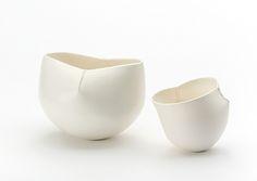 Scar bowls by ceramic artist Keiko Matsui.  14-27 cm diameter, 15-24 cm height, wheel thrown, porcelain, white semi- matt glazes.  keikomatsui.com.au