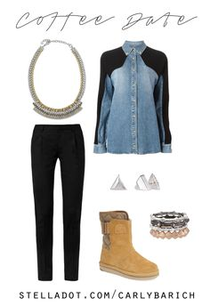 On the run and meeting friends for coffee in a denim shirt and comfy Sorel campus boots. Reversible studs, stackable rings, and a mixed metal collar necklace complete the look. Order all the accessories from my stylist website!