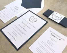 Wreath Wedding Invite, Wreath Suite, Navy Monogram Wedding Invitations, Winter Wedding Invitations, Classic Wedding Invitation Suite