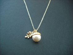 14k Gold Filled  - creamy pearl acorn necklace. $32.00, via Etsy.
