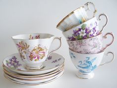 Tea Party Assorted Bone China Cups and Saucers ENGLAND
