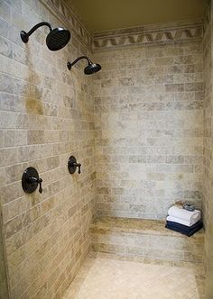 Travertine tile can make a stylish statement in your bathroom. Tiles are a staple of bathroom shower decor and there. Laundry In Bathroom, Bathroom Renos, Master Bathroom, Master Shower, Dog Shower, Rain Shower, New Bathroom Ideas, Bathroom Inspiration, Bath Ideas