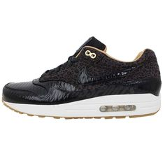 hot sale online c841c 549ae Nike Air Max 1 FB Woven Black Gold Leopard Mens Running Shoes NSW Sneakers  http