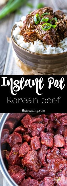 Used 2 tbsp instead of 4. Good flavor but not too hot! Served over quinoa. Slow Cooker Korean Beef, Pressure Cooker Recipes Beef, Korean Beef Bowl, Pressure Cooker Steak, Pressure Cooking, Electric Pressure Cooker, Instant Pot Pressure Cooker, Slower Cooker, Beef Chuck Recipes