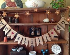 Rustic Wedding Bunting Burlap and Vinyl Lace by AlteredEcoDesigns