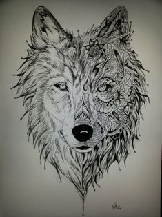 Art by Vale Tattoos 3d, Wolf Tattoos Men, Animal Tattoos, Tattoo Drawings, Tatoos, Tattoo Calf, Wolf Tattoo Design, Wow Art, Art Graphique