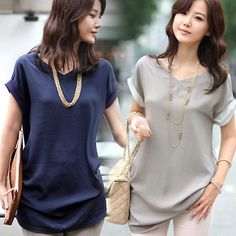 Women Chiffon Blouse Short Sleeve Casual Shirt Button Down Shirt Ladies Tops New #Other #Blouse #Casual