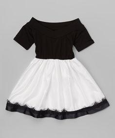 Leighton Alexander Black & White Sheer-Trim Dress - Infant, Toddler & Girls | zulily