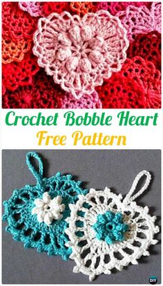 23 ideas crochet heart applique free for 2019 Crochet Squares, Crochet Bobble, Crochet Puff Flower, Granny Square Crochet Pattern, Crochet Flower Patterns, Thread Crochet, Crochet Motif, Crochet Crafts, Crochet Flowers