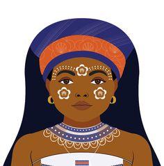Xhosa South African Wall Art Print featuring cultural dress drawn in a Russian matryoshka nesting doll shape African Wall Art, Xhosa, Thinking Day, Art Wall Kids, Art Techniques, Wall Art Prints, Character Design, Drawings, Illustration