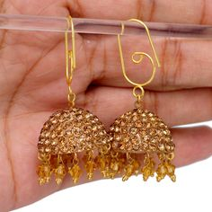 Traditional Gold Color Handmade Rajasthani Partywear Lakh Earrings Fashion Jewelry For S