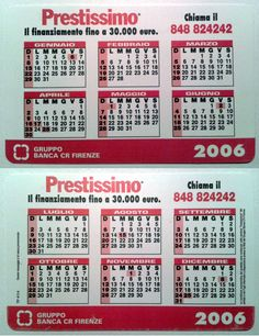 Calendarietto pubblicitario 2006 - Banca CR Firenze