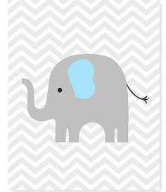 Elephant Nursery Art, Chevron, Gray and Baby Blue, Boy Nursery Decor, Safari, Jungle, Baby Boy, New Baby Gift, Baby Shower Gift, Baby Blue by SweetPeaNurseryArt on Etsy