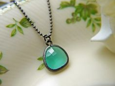 Luulla  Mint Opal Glass Pendant Necklace