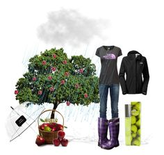 """""""Picking Apples in the Rain"""" by leelee107 ❤ liked on Polyvore featuring RoÃ¿ Roger's, Kate Spade, Bogs, The North Face and Donna Karan"""