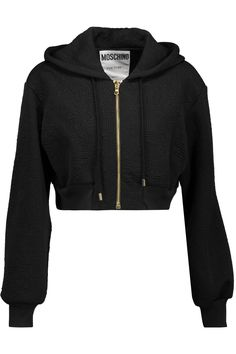 Black kind crop top jacket will keep you cozy and warm Girls Fashion Clothes, Teen Fashion Outfits, Girl Outfits, Crop Top Outfits, Edgy Outfits, Cute Comfy Outfits, Aesthetic Clothes, Hooded Jacket, Ideias Fashion