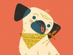 Vintage Illustration Sometimes I feel like a pug by Lydia Nichols Children's Book Illustration, Character Illustration, Cute Animal Illustration, Animal Illustrations, Character Sketches, Vintage Cartoons, Pug Love, Cute Characters, Dog Art