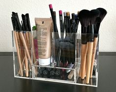 """Arya acrylic makeup organizer storage tray is our """"Most Loved"""" in the modular collection. Helping you keep you makeup as they were meant to be stored, the right way up and each with their own clearly"""