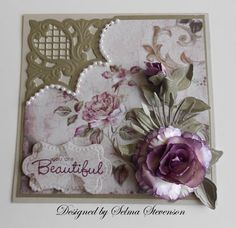 Rose created with a punch to match the design paper.  New Marianne Design die cut corner from Joan's Gardens.