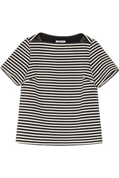 T BY ALEXANDER WANG Leather-Trimmed Woven Top. #tbyalexanderwang #cloth #top