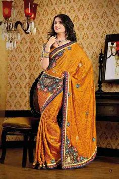 Champa Orange Faux Crepe Luxury Party Wear Sari saree