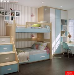 superb playrooms and kids bedrooms decorating ideas 9 Bunk Beds For Girls Room, Small Room Bedroom, Kid Beds, Girls Bedroom, Bedroom Sets, Modern Bedroom, Kids Bedroom Designs, Bunk Bed Designs, Kids Room Design