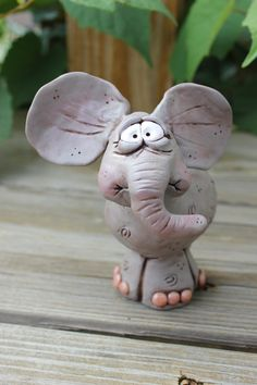 Nervous Elephant Polymer Clay Sculpture by mirandascritters
