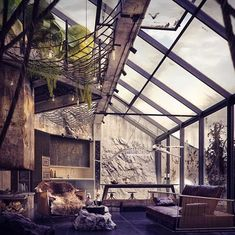 this house has been envisioned by bartosz domiczek as a warm, luminous retreat featuring a relief of a dinosaur skeleton etched… Casa Loft, Loft House, Industrial Living, Industrial House, Industrial Decorating, Industrial Interiors, Interior Exterior, Interior Architecture, Interior Design