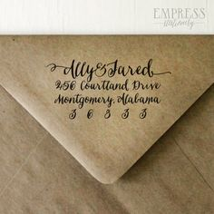 Return Address Stamp No. 16---Personalized Calligraphy, Save the Dates, Wedding, Wedding Showers, Newlyweds, Housewarming