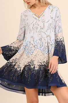 """V Neck Print Dress with Bell Sleeves and Crossed Neckline Detail Model is 5'8"""" and is wearing a small. V-Neck Print Dress by Umgee USA. Clothing - Dresses - Floral Miami Florida"""