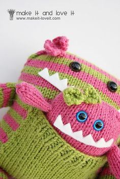 Knitted Monster with her baby. So cute :-)