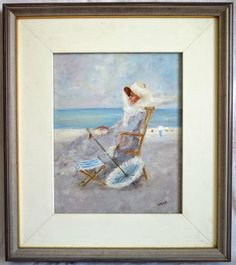 Painting of a lady sitting on the beach, oil on canvas, early from chateau on Ruby Lane Table Place Settings, Vintage Games, Woman Painting, Beach Day, Summer Days, Oil On Canvas, Blue And White, Fine Art, Ruby Lane