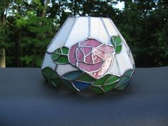 Vintage Leaded Stained Glass Lamp Shade Pink Rose Floral Slag Tiffany Style