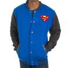 - Officially Licensed DC Comics Superman Products - Blue Jacket has Gray Sleeves Accents - Features the Superman Logo on Left Chest - 60% Cotton/40% Polyester