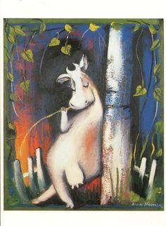 """Kuva: """"Lehmä nojaa koivupuuhun."""""""
