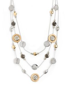 #CBWHISHLIST Phillis 3 Strand Mixed Metal Necklace - AccessoriesChristopher & Banks | Christopher and Banks