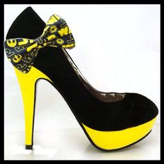 These black-and-yellow Galactic Empire beauties. | 17 Gorgeous And Geeky Pairs Of High Heels