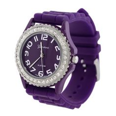Purple Silicone Gel Ceramic Style Band Crystal Bezel Womens Watch *** Learn more by visiting the image link.Note:It is affiliate link to Amazon.