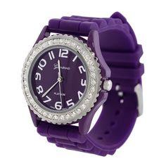 Purple Silicone Gel Ceramic Style Band Crystal Bezel Womens Watch